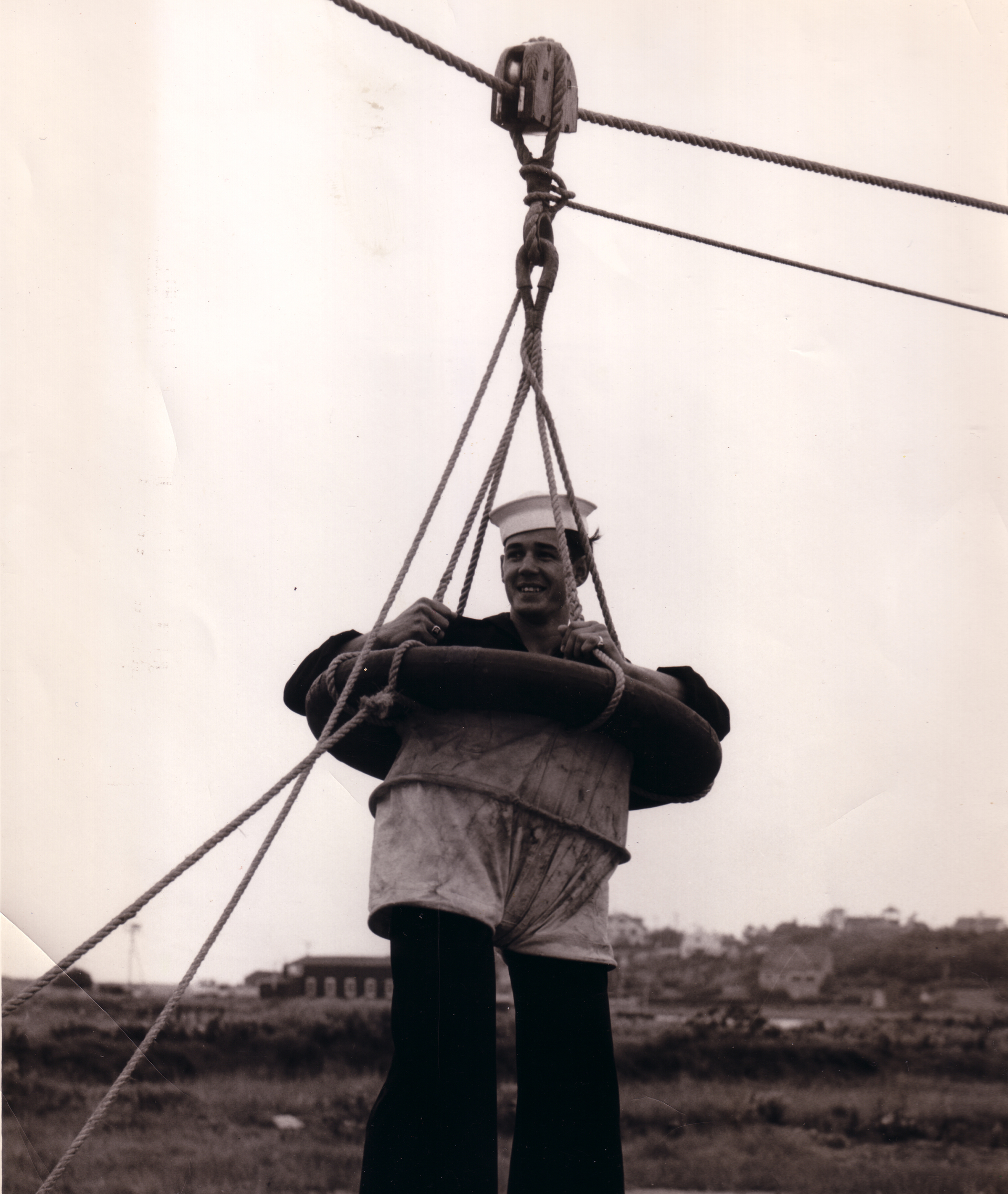 Point Allerton crewman in breeches buoy