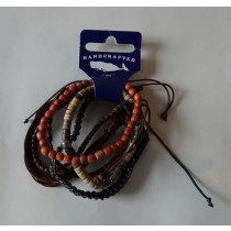 Bracelet 6 pack - Leather & Beaded